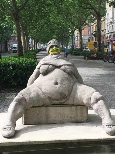 Christina Bösel-  Peter Lenk statue  Konstanz, Germany